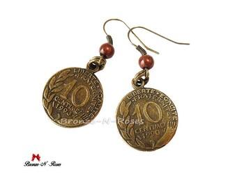 Earrings * 10 cents * bronze franc nostalgia