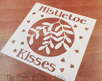 Mistletoe Kisses Christmas Themed Paper Cutting Template - Commercial Use