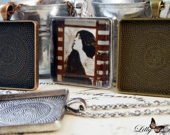 26- Photo Pendant Jewelry Kits. 30mm Complete Square DIY Kits- Includes trays,necklaces,and Glass Cabochons. Vintage and Antique Bezel Trays