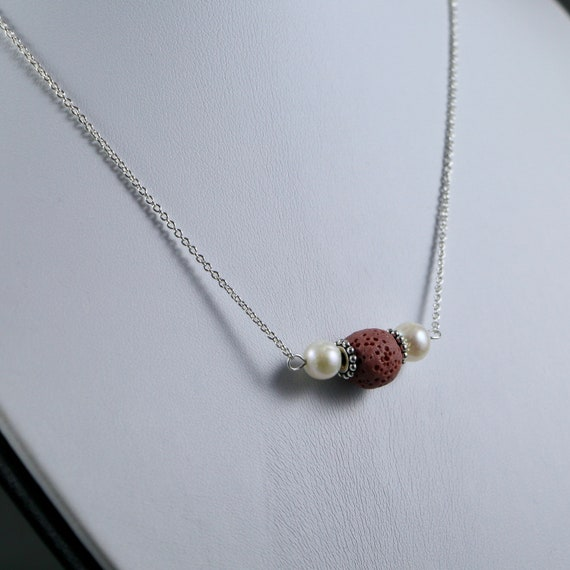 Lava Bead and Freshwater Pearl Essential Oil Diffuser Necklace