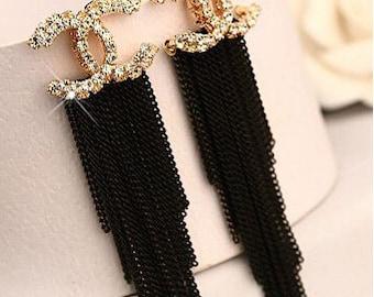 """Tassel Chain Crystal Earrings  Black Or Pink 3"""" long"""