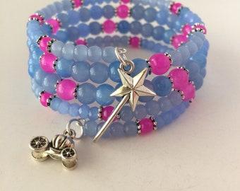 Fairy Godmother Bracelet, Cinderella Bracelet, Disney Fairy Godmother Bracelet, Glass Wrap Bracelet, Cinderella Inspired Glass Bracelet