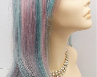 Long 26 inch Straight and Wavy Pastel Rainbow Color Wig with Bangs. Cosplay Wig. Mermaid Wig. Scene Wig. [14-110-Cara-Prism]