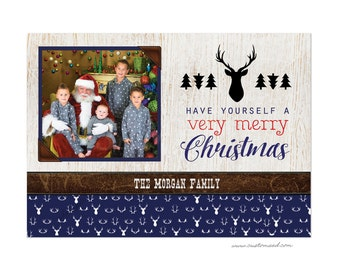 Christmas Card with Antlers,  Photo Holiday Card with Antlers, DIY Printable, Printed Cards, Navy Christmas Cards, Woodsy, Greeting, Rustic