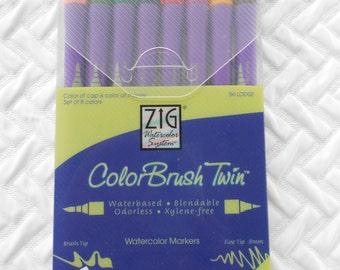DESTASH, ZIG feutres d'aquarelle, marqueurs ColorBrush Twin, chalet de Ski, pinceau, pointe Fine, artiste marqueurs, marqueurs Scrapbook, jamais utilisés