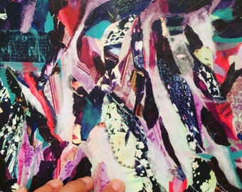 Abstract art, Original abstract painting, collage painting, violet wall art, violet painting