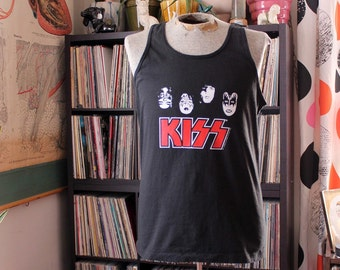 vintage Kiss muscle tee tank top, black Fruit of the Loom t-shirt . 90s transfer on 80s/90s tee