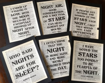 Night Time and Stars  Dictionary Art Quote Prints Decorations  Set of 6