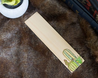 Cactus Terrarium Wood Bookmark