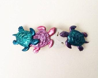 Turtle  Hair Barrette, Sea Turtle, Shells, French Barrette