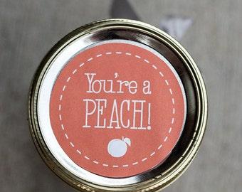 Printable peach jam jar label | gift tag | Peach canning mason jar label