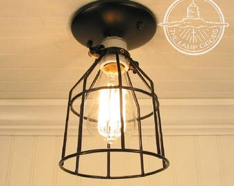 Auburn Port. CEILING LIGHT Industrial Cage  with Edison Bulb