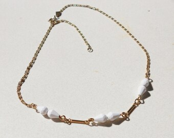 Vintage necklace chain with white beads by Sarah Coventry from the 1970s