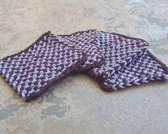 Purple and Brown Hand-Knit Cotton Coasters (Set of 4)