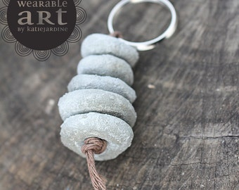 Cement to be - keyring - Hand painted beads - floral - cement beads - navy and pink