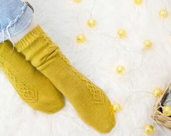Wool socks Mustard socks Womens knitted socks Winter socks Spring socks Hand knit socks Warm socks Leg warmers Gift for her - READY TO SHIP