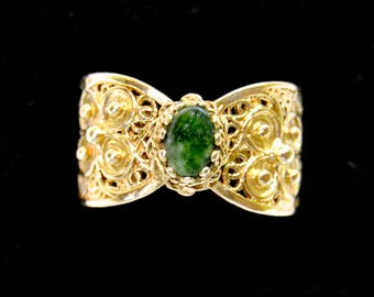 Intricate Solid Gold and Jade Statement Ring