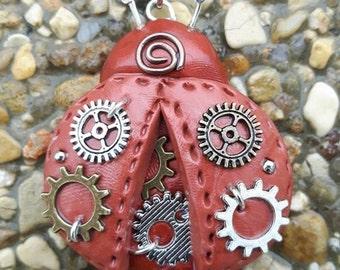 Ladybug polymer clay steampunk.