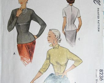 1950 Vintage McCalls Blouse Pattern