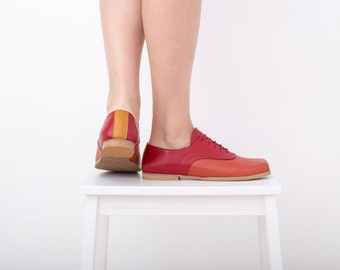 Womens red oxford shoes, leather flats, handmade red and orange square toe lac-up , ADIKILAV , ON SALE