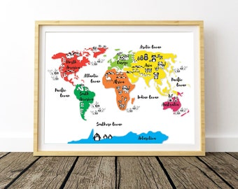 Animal world map etsy animal world map world printable map world map wall art large wall map gumiabroncs Gallery