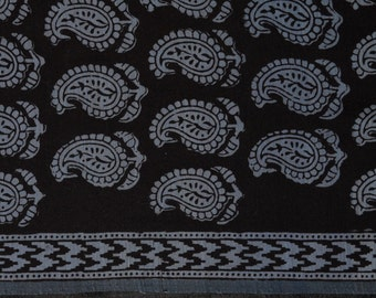Sheer cotton silk blended chanderi in black background with grey paisley design - One Yard