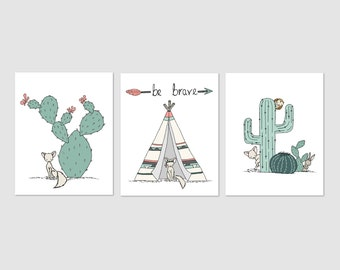 Southwest Nursery Art -- Fox Cactus Teepee Nursery Art -- Set of 3 Prints -- Fox Owl Bunny Art -- Kids Wall Art