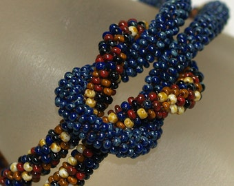 Rochelle ... Bracelet . Bead Crochet Rope . Earthy Colors . Autumn . Picasso Finish . Dark Navy Blue . Caramel . Cream