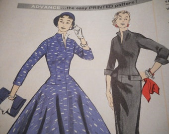 Vintage 1950's Advance 7723 Dress Sewing Pattern Size 12 Bust 32