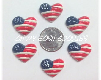 2 Piece Set PATRIOTIC FLAG HEARTS Hairbow Centers - Oh My Gosh Goodies Resins