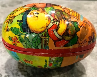Vintage West Germany Paper Mache Egg Candy Container 1950 Era Large 4 1/4 Inch