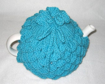 Teapot Cozy Tea pot cozy, tea accessories wool cozy Crocodile stitch - large in aqua wool