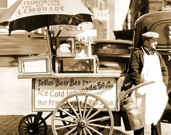 "1936 Hot Dog Stand, New York City, NY Vintage Photograph 8.5"" x 11"" Reprint"