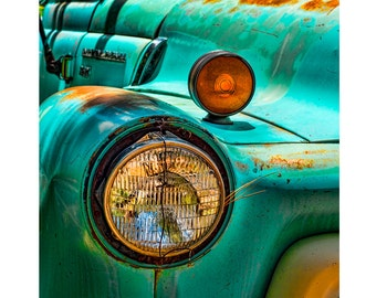 Old Truck Photograph, Gift for Men, Rusty Old Truck, Manly Decor, Rustic Decor, Truck Headlight, Teal Vintage Truck Art Print, Turquoise Red