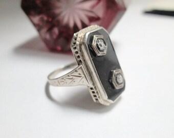 Vintage Art Deco Mourning Ring 14K White Gold 2 Diamonds
