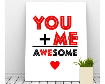 You Plus Me Valentine Art, Instant Download, Printable Art, Romantic Art, Couples Art, Romantic Art