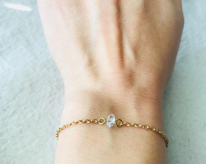 Single Herkimer Diamond Quartz 14K Gold Brass Silver Dainty Bracelet, Wedding Jewelry, Minimal, Crystal Bracelet, Bride Bridesmaid Jewelry