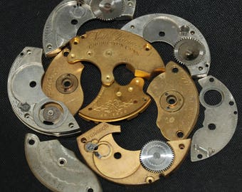 Destash Steampunk Watch Clock Parts Movements Plates Art Grab Bag RD 84