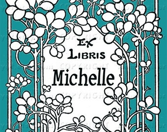 Blue Garden- Vintage - Personalized  Bookplate - Great Gift