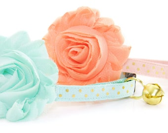 Cat Collar / Kitten Collar Breakaway / Small Cat Collar / 6 SIZES / Pastel Cat Collar with Bell / Cute Cat Collar - (Flower Sold Separately)