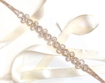 Sash - Gold Wedding Dress Sash with Circles - Custom Satin Ribbon Tie - Extra Long Crystal Bridal Belt Sash - Yellow Gold