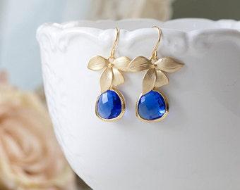 Cobalt Blue Earrings Gold Orchid Flower Sapphire Blue Glass Dangle Earrings Cobalt Blue Wedding Bridal Bridesmaid Gift September Birthstone