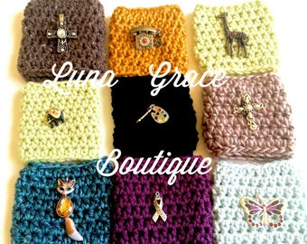 Charming Crocheted Coffee Cup Cozies, Personalized with Your Charm & Cozy Color Choice, Tea, Fox, Giraffe, Rabbit, Cross FREE SHIPPING