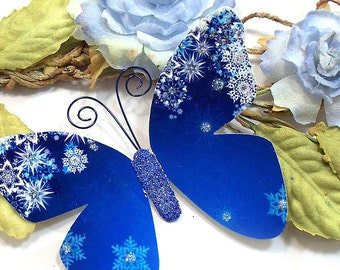 Butterfly Embellishments Blue Christmas