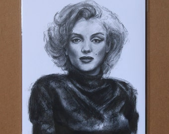 Marilyn Monroe Charcoal Drawing, Marilyn Monroe Wall Decor, Marilyn Monroe Print, Marilyn Monroe Wall Art