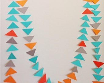 Guirlande de Triangle Gris Orange turquoise. Guirlande géométrique. Papier toile de fond. Fête tribale. Shower de bébé. Guirlande d'anniversaire. Photo Prop. Pow-Wow