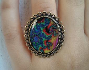 Lsd blotter ring glass resin fractal psychedelic sacred geometry pattern hippie psy art