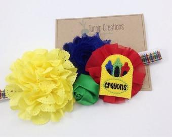 Back to School Headband Crayons Headband OTT Headband Eyelet Shabby Flower Headband Red Blue Yellow Pre K Kindergarten Girls Headband