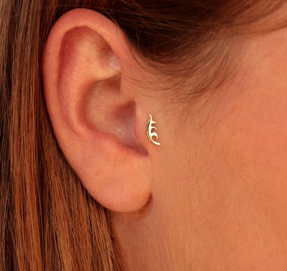 Tiny Gold 14k Earrings Gold Tragus PiercingRose gold