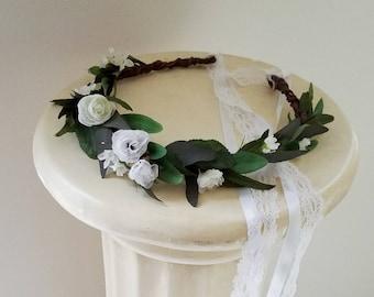 Eucalyptus headpiece greenery foliage flower crown Woodland bridal white lace wedding veil hair wreath accessories halo